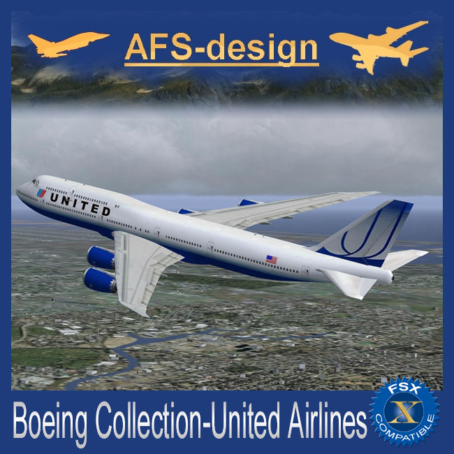AFS Design – Boeing Collection – United Airlines for FSX Only