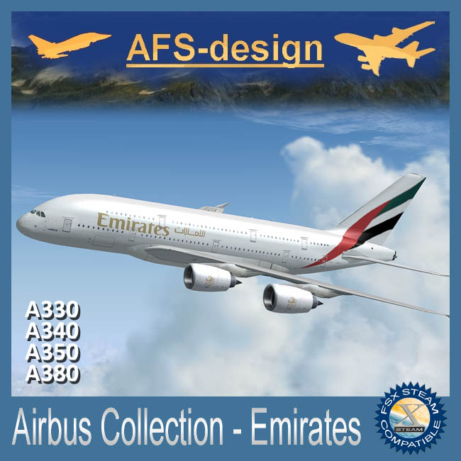 AFS Design – Airbus Collection – Emirates  for FSX Steam only