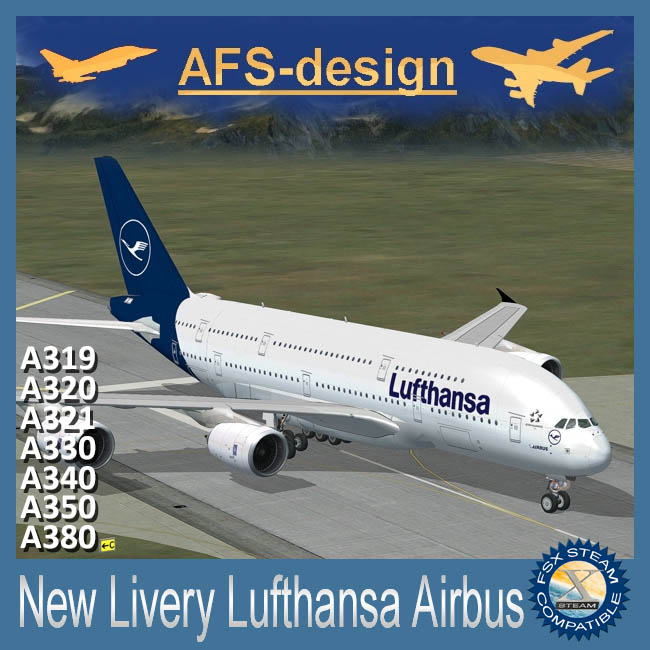 AFS Design – Airbus Collection – New Livery Lufthansa Airbus V2 for FSX Steam