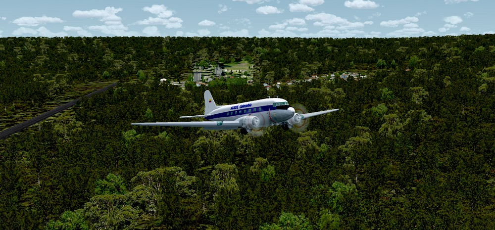 Rolling Cumulus - Colombia DC3 Air Buses for FSX